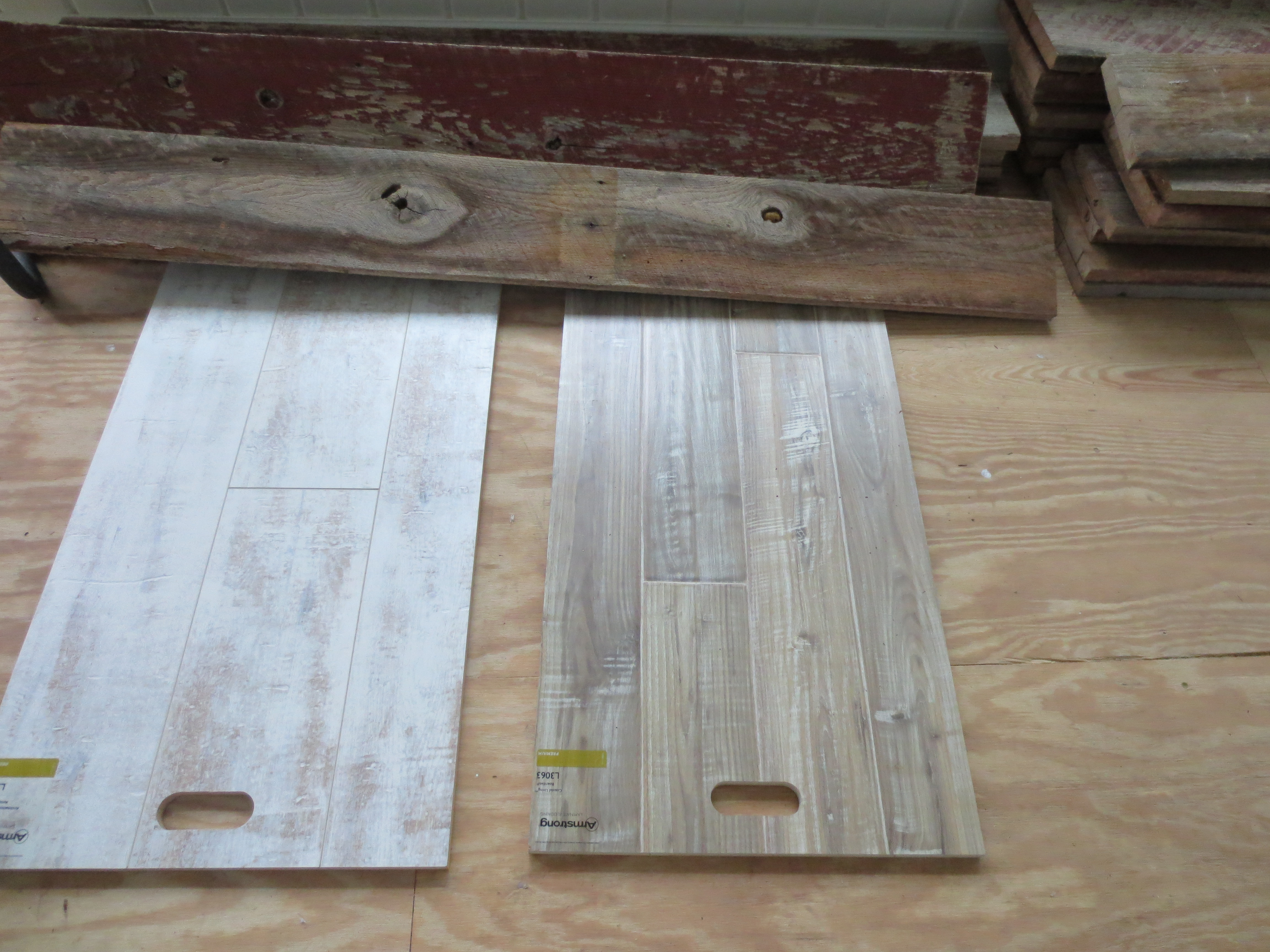 The Sample On Left Is Armstrong Antique Structure Historic Element Milk Paint And Right White Wash Boardwalk